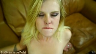 Hot blonde eats pussy then is fucked in threeway on casting couch