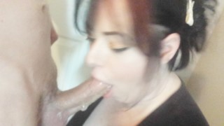 Pretty wife deepthroat my 9 inch cock and swallows cum on her way to work! Job busty