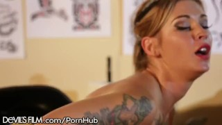 Pinup Babe Kleio Valentien Rides Big Cock Licking tits