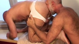 Hairy Daddies Rip Each Other's Underwear Off at the Gym and Fuck