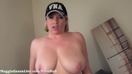 Natural Big Titty Maggie Green Fingers Her Pussy!
