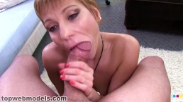 Gemma Moore Dirty MILF Cougar POV Blowjob Huge Cock with Cum Swallow
