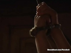 Hot slave babes kissing, hugging and humping with their mistresses