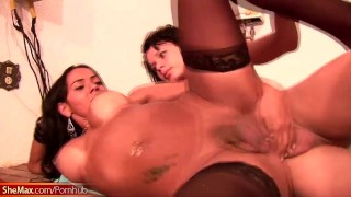 T-girl gets pounded by three big cocks while giving blowjob Tits pornstar