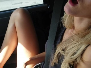 Hot Blonde gets Busted Masturbating in Jeep