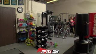 Preview 3 of Digital Playground- Fitness Babe Sucks Huge Cock In The Gym