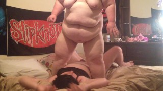 Big Bella squashing sissy hubby under 320 lbs body!  bbw femdom chubby fat sissy kink ssbbw belly big belly crush squash bigbella squashing