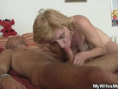 : Mother-in-law comes to help him cum
