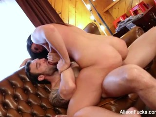 Mom Anal Fucked Brunette hottie Alison gets cum all over her huge tits