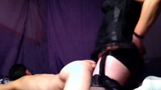 pegging my hubbys ass with large strap-on pegging masks anal strap on toys femdom anal amateur extreme anal toys kinky married couple sex