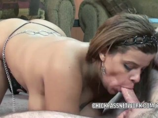 Latina MILF Angel Lynn is on her knees and sucking dick