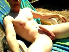 Russian tanning and masterbating flexed long cock