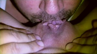 Her clit eat lick erection pov