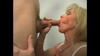 Mature Carol Does The Young Delivery Guy Cum mouth