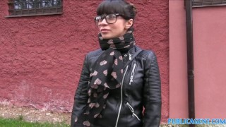 PublicAgent Russian creampied outdoors for cash Blonde outside