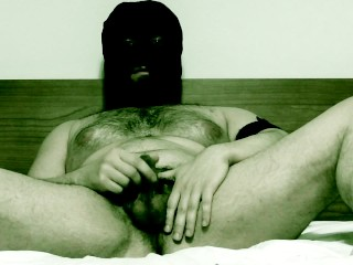 Flauros Bear masked jerk off and cum in bed
