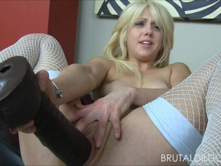 pornhub - Blonde babe fucking her ass and pussy with some big brutal dildos in HD
