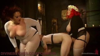 Two Gorgeous BBWs Smother Their Fuck Slave  cock slapping sex in bondage strapon bdsm bbw femdom chubby kink smothering 3some flogging bondage anal stockings ass licking divinebitches