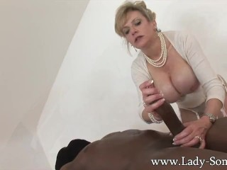 First Sex Sex Fucking, MILF Lady Sonia strokes HUGE black cock