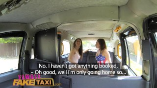 FemaleFakeTaxi lesbian pussy eating session in cab Fingering pussy
