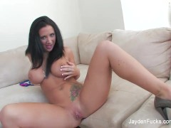 Jayden shows off her big tits and tight pussy