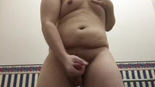 Work pup hard cumming in restroom chubby solo jerking