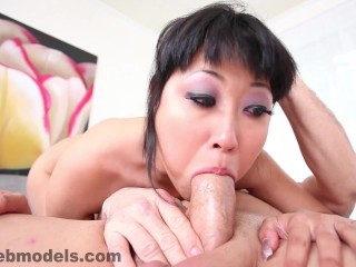 Asian Japanese delight Yuki Mori Handjob and POV Blowjob and Facial!