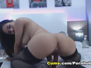 Busty Brunette Dildo Fuck her Pussy