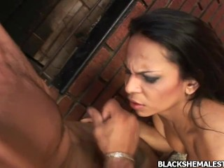 Black shemale with hard hungry cock that gets fucked hard
