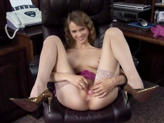 Shay Lauren Strip Video Fucking, Blonde cutie BeatA fucked In an office chair In nude thigh high sto