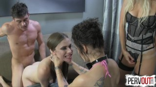 Best Break Up Therapy EVER (STRAP-ON, GROUP SEX, HYPNO)  big ass pegging pervout femdom-strapon strapon hypno fishnets lux orchid kink natural-tits lance-hart brunette 3some bubble-butt group-sex small-tits ashley fires ex girlfriend anya olsen