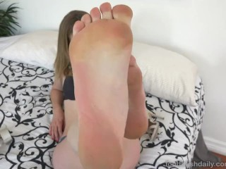 Mona Wales Fucks Huge Dildo With Red Toes