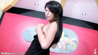 Her cock rubs shemale strawberries on juicy dark haired tranny eyes