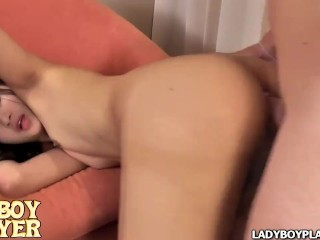Horny young femboys with small tits and a tight boyish butt and big cock