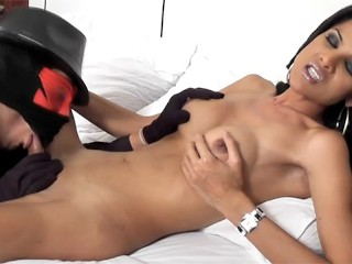 MILF ladyboy jerks off and has her huge cock blowjob and ass destroyed
