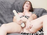 Big meloned amateur Patience masturbating her hairy snatch for orgasm