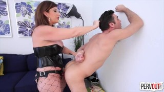 Future Son-in-Law Test with Sara Jay (FEMDOM, PEGGING, CHASTITY, CREAMPIE) strap-on pegging pervout femdom hardcore kink big-ass sara-jay strapon cum-eating huge-tits lance-hart fake-tits butt cross-dressing fishnets
