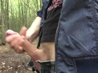 boy with big penis is jerking and cumming in risky place