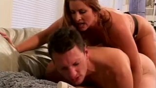 Busty bossy bitch humiliates a skinny guy and pegs his ass