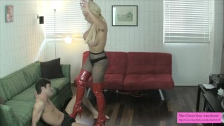 Huge Tits Blonde Nikki Masters Breaking Horny Boyfriend's Balls  slim thick high heels punish submission blondie leather pov pantyhose kink rough sweetfemdom big boobs nikki masters lance hart ball busting huge tits