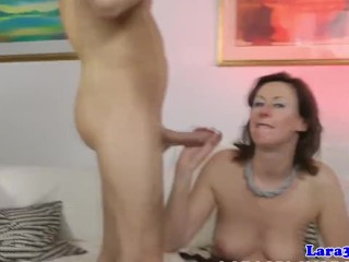 Classy british mature swallows cum