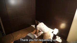Japanese hotel massage gone wrong Subtitled in HD Pussy sucking