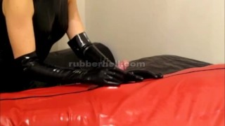 Teasing and sucking my latex cocoon slave  latex-lucy rubber-glove-handjob bdsm rubber-bondage latex-bondage blowjob kink rubber rubber-doll latex-catsuit latex femdom-handjob rubber-tanja cocoon rubber-playground