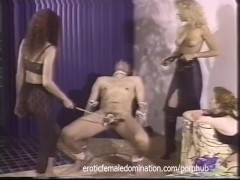 : Merciless mistresses team up to make a slave's cock hurt bad