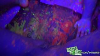 Daredorm fuckfest glow party college bodypaint