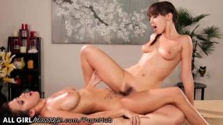 April O'Neil and Jenna Sativa Tribbing Massage