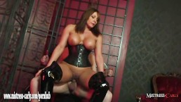 Hot busty Mistress Carly fucks slave and makes him cum in gimps dirty mouth