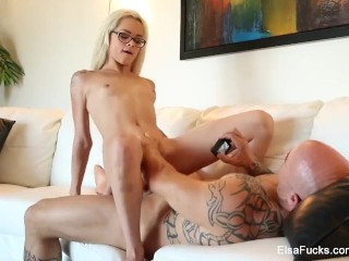 Elsa Jean keeps her glasses on when she gets fucked