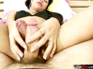 Stunning ladyboy with small titties slurps on juicy cock