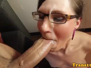 Kinky natural spex tranny rides big cock